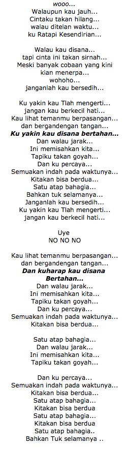 Lirik Lagu Dhyo Haw Jarak Dan Kita