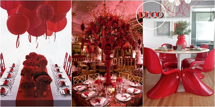 hot red color decor ideas, red Pantone chairs