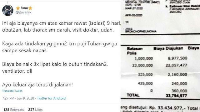 Viral Biaya Berobat Corona Nyaris Rp 70 Juta, Mantan Pasien Kuak Kuitansi: Keluar Aja, Kalian Tajir!