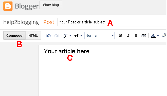 Create a new post in blogger: