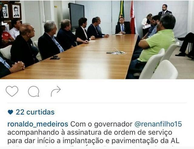 """Governador Renan Filho """"dribla"""" prefeito em anúncios de obra em Rodovia"""