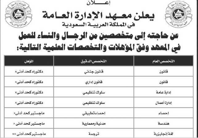 وظائف معهد الإدارة العامة بالرياض السعودية 1442