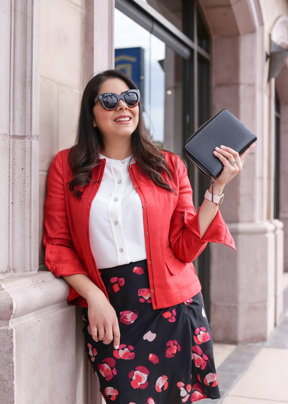 how to wear a red blazer, cabi red blazer