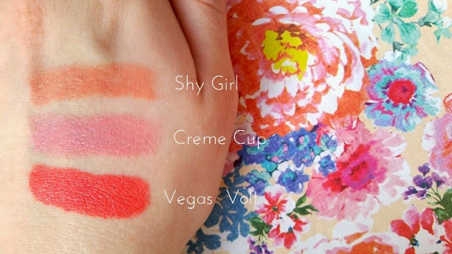 Beauty | MAC Lipsticks for Pale Complexions - Shy Girl, Creme Cup & Vegas Volt (Swatches & Reviews)