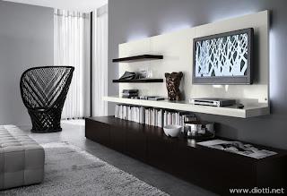 sala moderna blanco negro