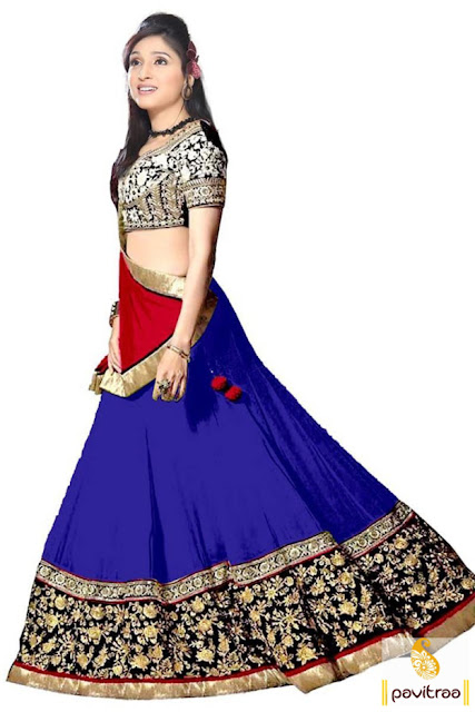 Wedding season special blue and black indian lehenga choli online with discount price at pavitraa.in