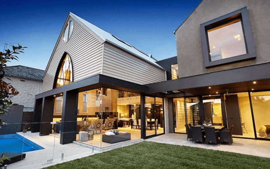 Ide Desain Rumah Kontemporer 1 Lantai Modern Terbaru dengan Taman Rumput Hijau
