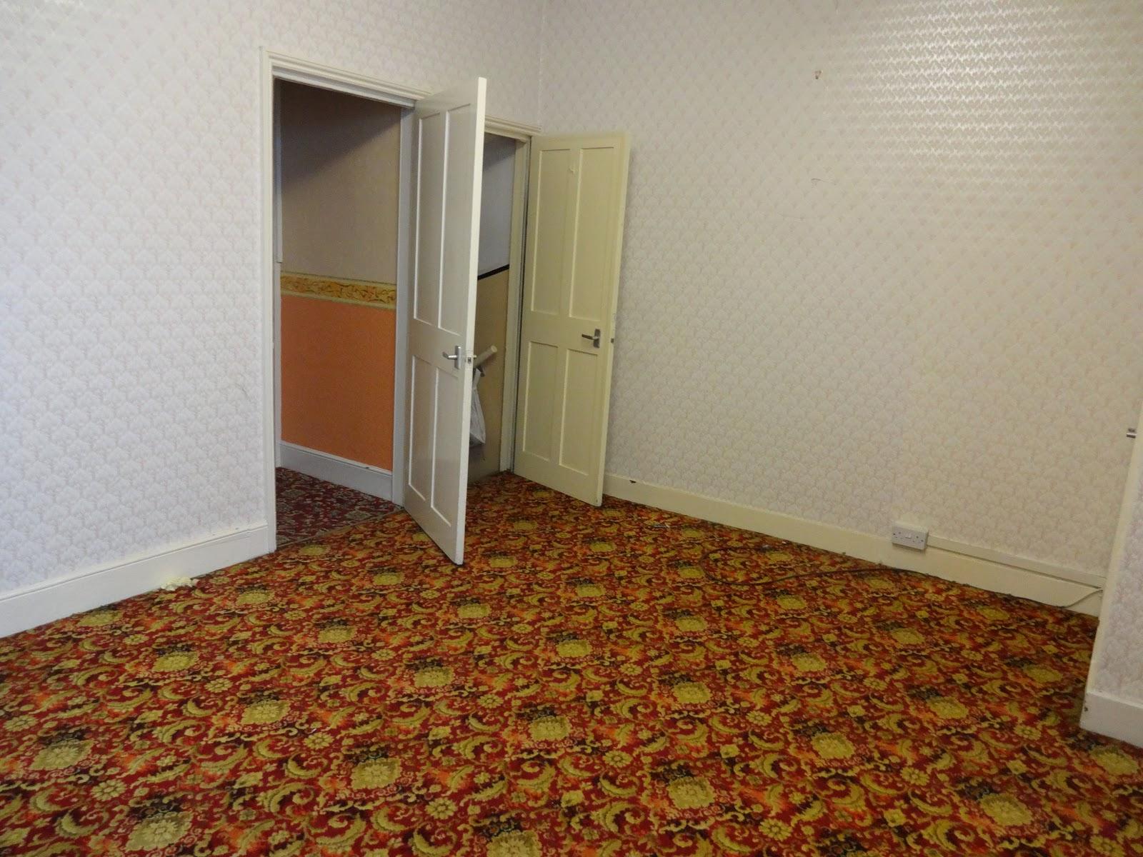 retro dining room with door to basement