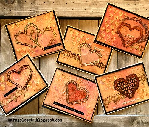 Sara Emily Barker https://sarascloset1.blogspot.com/ Tim Holtz Sizzix Geo Frames Crochet 2 Valentine Card Set Tutorial 1