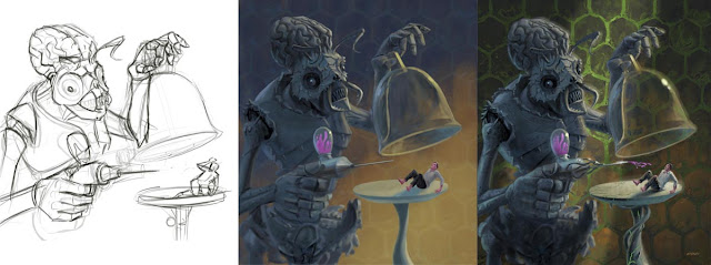 stages of WIP alien experiment retro illustration