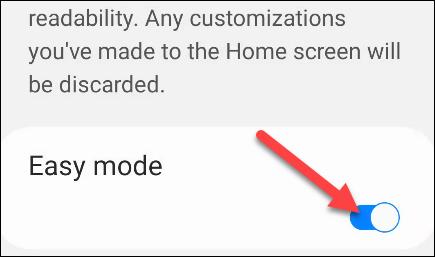 الآن ببساطة قم بتبديل المفتاح إلى وضع التشغيل وسترى أن واجهة المستخدم تتضخم على الفور.
