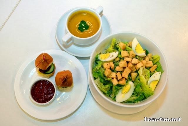Set B Divine Bonus Meal - Caesar Salads, mini burgers and Soup of the Day