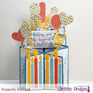 Divinity Designs Stamp Set: Today and Everyday, Mixed Media Stencils: Bubbles, Custom Dies: Cascade Fold Card with Layers, Large Banners, Balloons & Streamers, Birthday Candles, Paper Collection: Birthday Brights