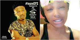#BBNaija: Watch Video Of A Young Lady who vow to continue crying until Efe wins