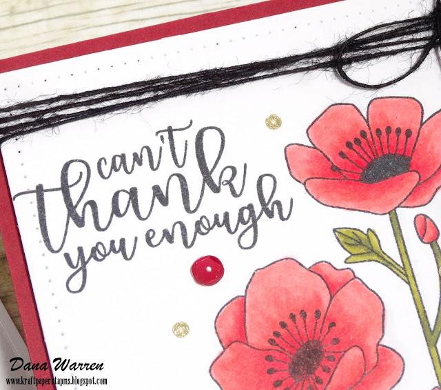 Dana Warren - Kraft Paper Stamps - Catherine Pooler - Poppies Copic Coloring