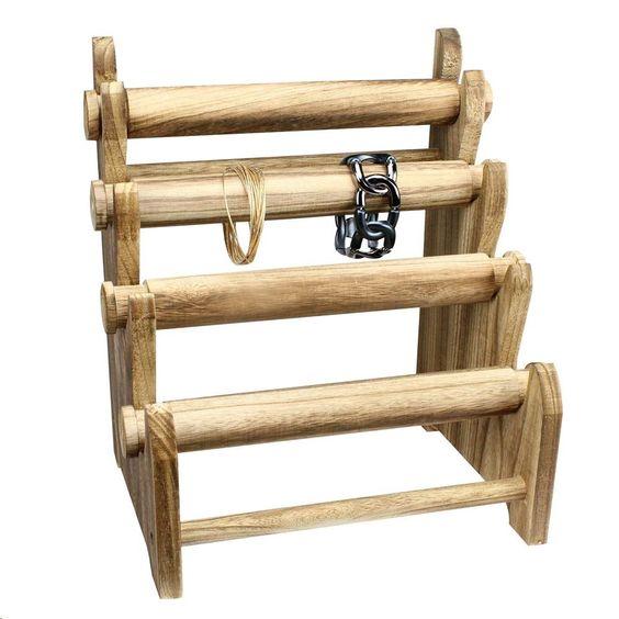 #WD3804 Antique Wooden 4 Tier Bracelet Display Rack