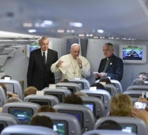 Pope in aeroplane
