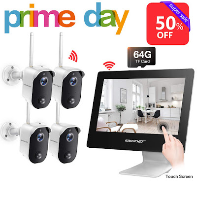 "【100% Wire-Free】Wireless Battery Camera System,SMONET 4CH 1080P All-in-One 9"" Touched LCD Monitor&4pcs 2MP Outdoor Battery Powered Cameras,2-Way Audio,Motion Detection for Home Camera System,Free APP"