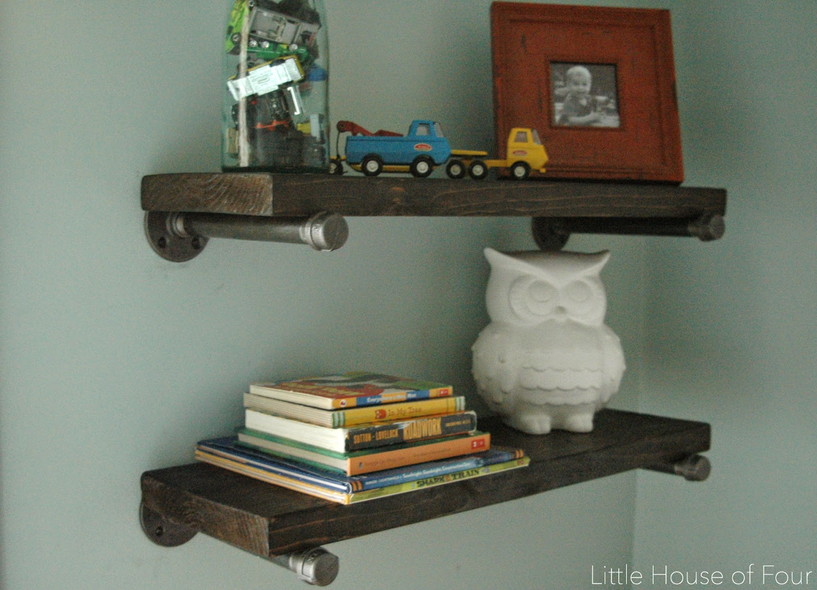 Wood and steel pipe shelves