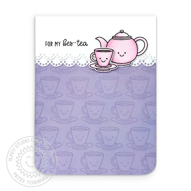 Sunny Studio Blog: For My Bes-tea Punny Teapot & Teacup Handmade Card (using Tea-riffic Stamps & Eyelet Lace Border Dies)