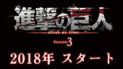 ¡Se anuncia Tercera Temporada de Shingeki no Kyojin para 2018!