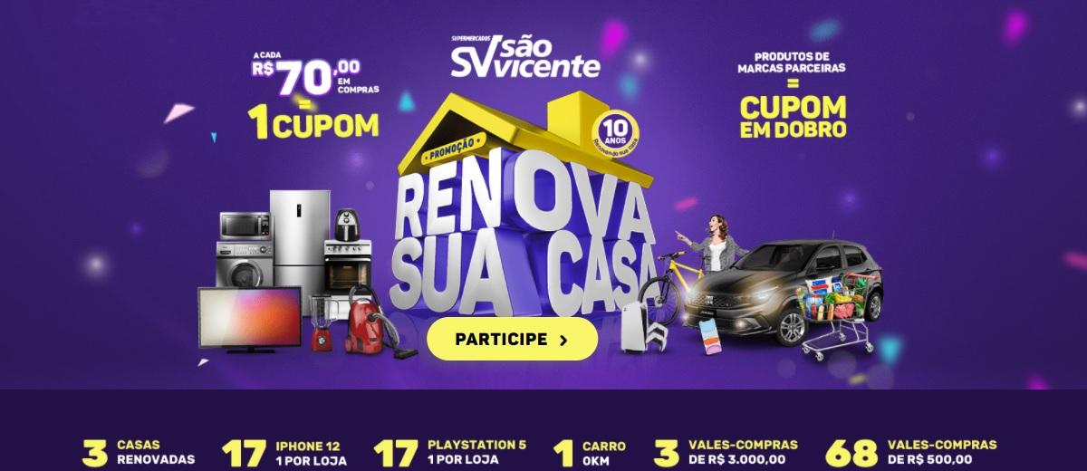 Promoção Renova Sua Casa 2021 São Vicente Supermercados - Participar, Cadastrar e Prêmios