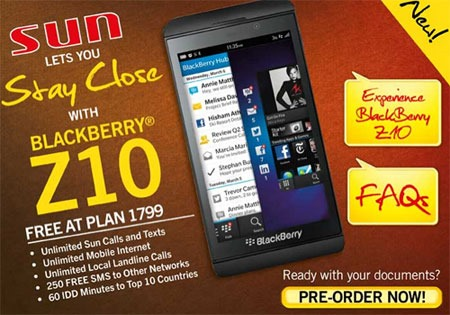 Sun Plan 1799 with FREE Blackberry Z10