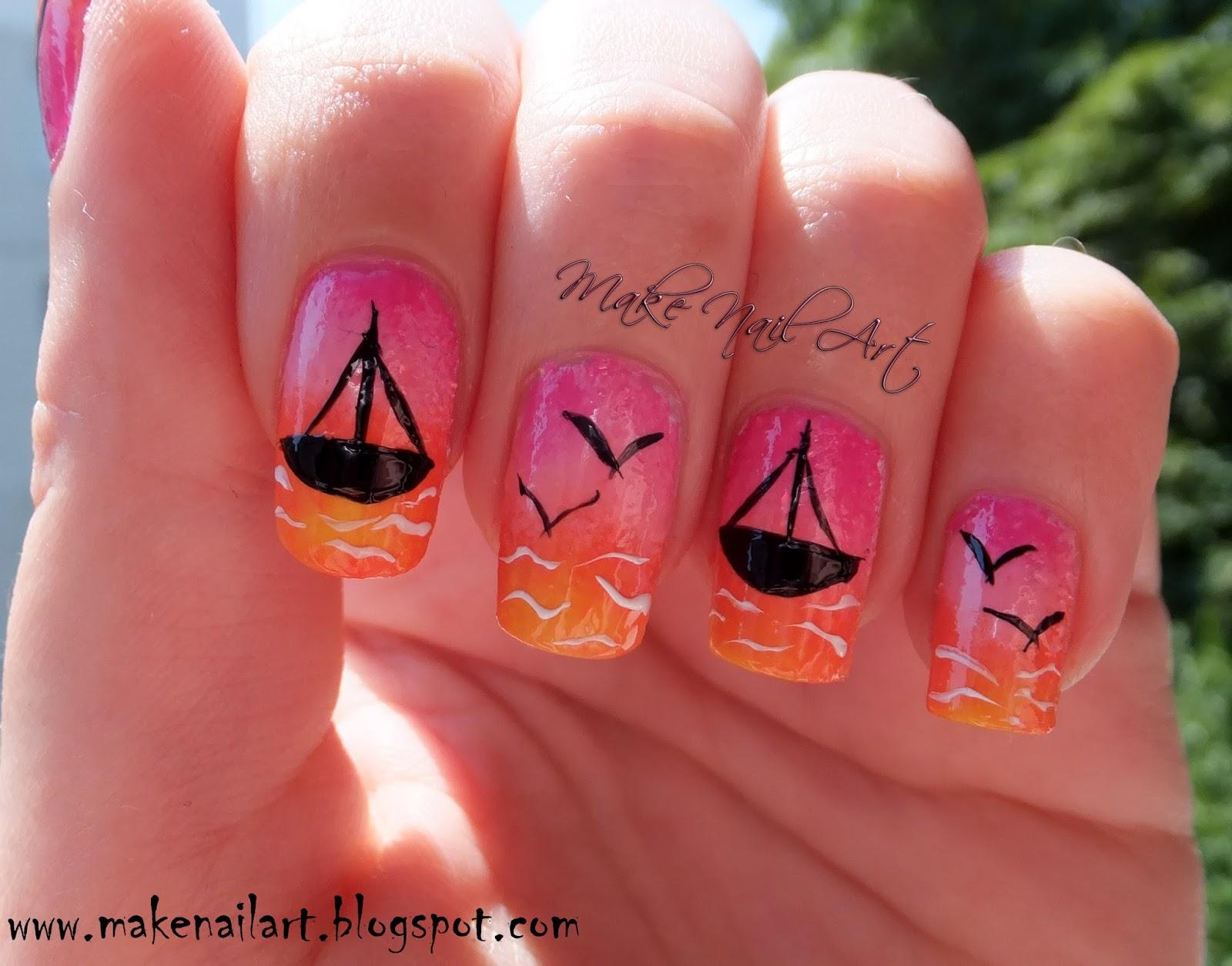 Make Nail Art Summer Sea Sunset Nail Art Tutorial