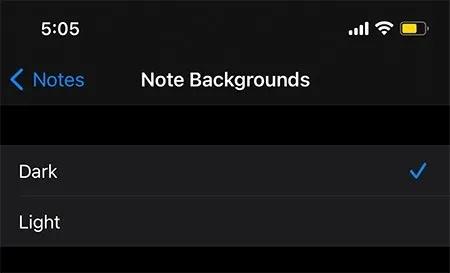 تغيير لون إعدادات ملاحظات الخلفية