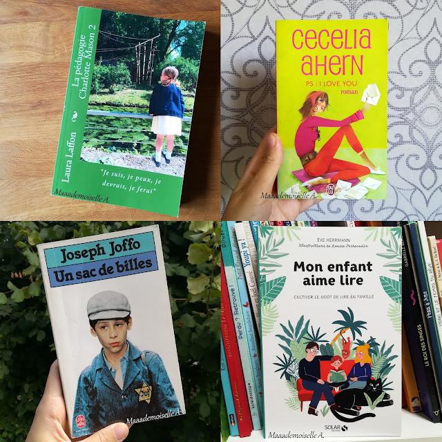 Mes dernières lectures # 19 : La pédagogie Charlotte Mason volume 2, PS : I love you, Un sac de bille, Mon enfant aime lire
