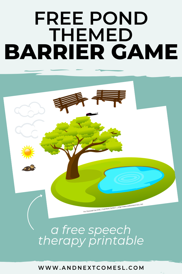 Free speech therapy barrier game: pond themed