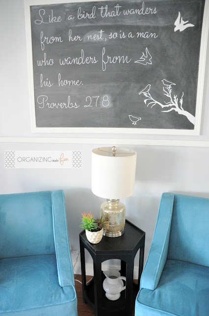 Like a bird that wanders from her nest, so is a man who wanders from his home. Proverbs 27:8 Chalkboard Art :: OrganizingMadeFun.com