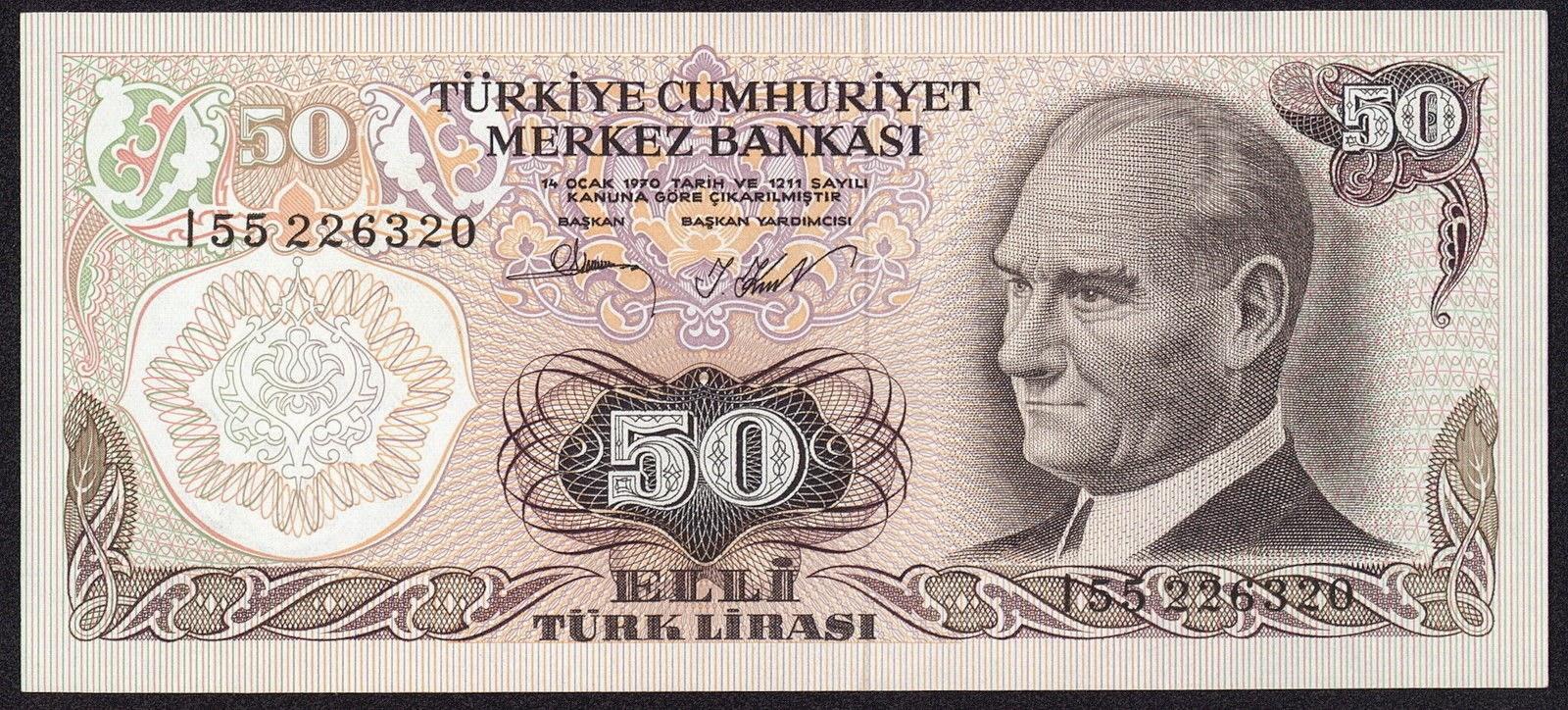 """Turkey Banknotes 50 Türk Lirasi """"Turkish Lira"""" note 1970 Mustafa Kemal Atatürk"""