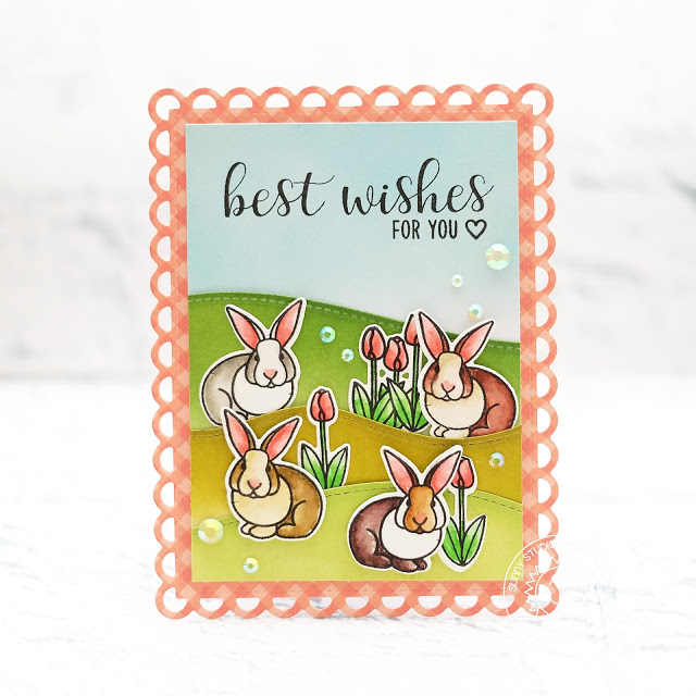 Sunny Studio Stamps: Spring Greetings Easter Wishes Frilly Frames Lattice Spring Themed Best Wishes Card by Lexa Levana