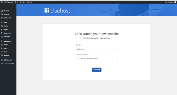 Launch Bluehost