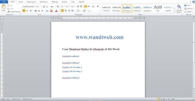Cara Membuat Daftar Isi Otomatis di Semua Versi MS Word Terbaru - WandiWeb