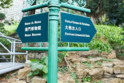 Signboard directing towards Museum of Macau and Monte Fort.