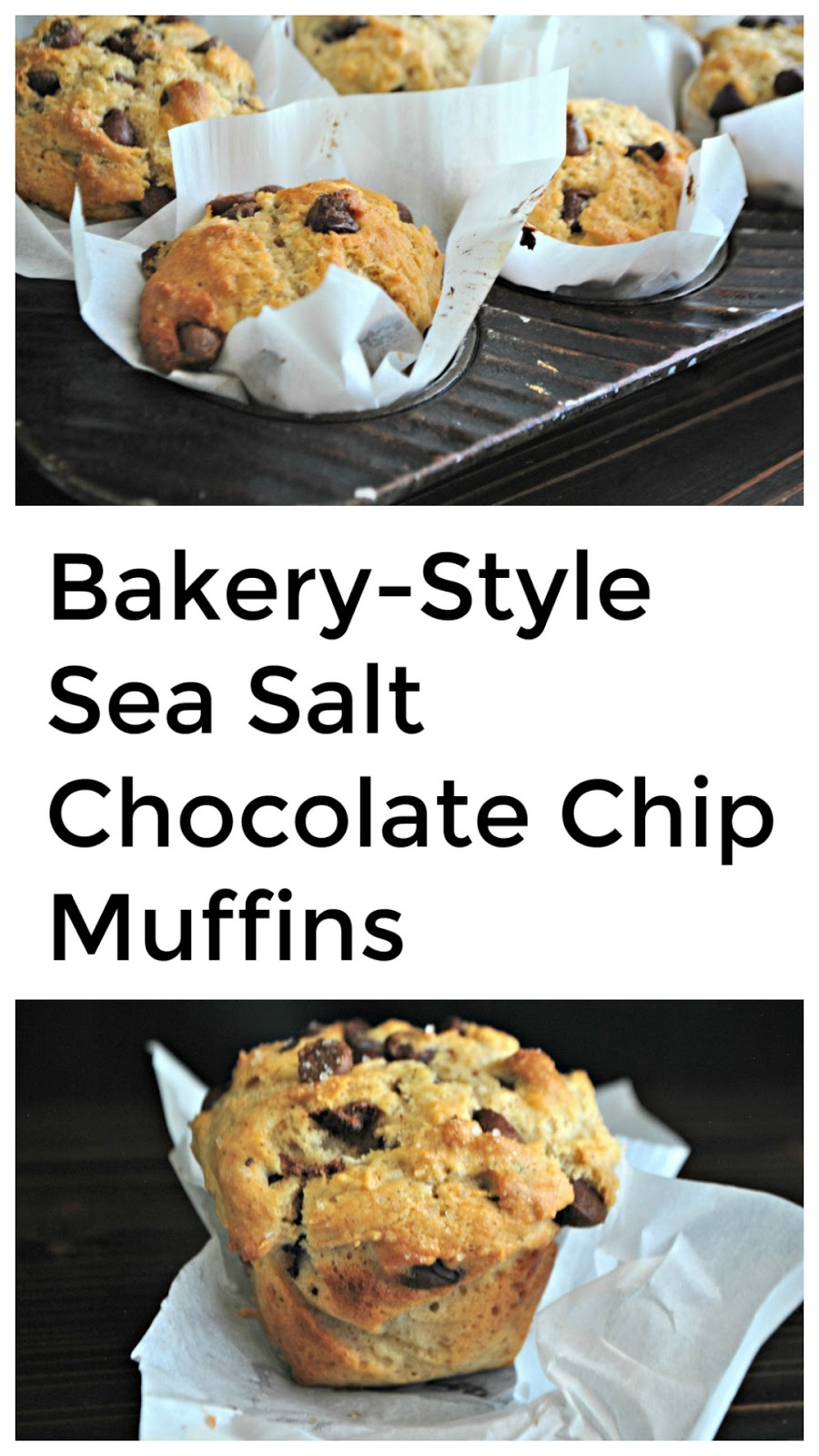 The classic bakery-style chocolate chip muffin topped with sea salt.