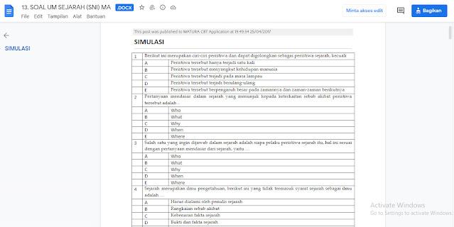 Contoh Latihan Soal Ujian Madrasah (UM) Sejarah (SNI) MA Tahun 2021