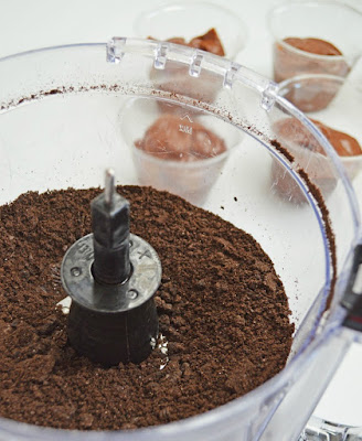 "food processor with chocolate  cookie crumbs in it for edible ""dirt"""