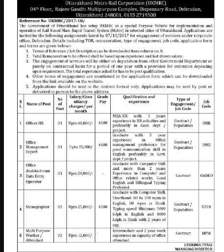 UKMRC Recruitment ukmrc.org Uttarakhand Metro Rail Corporation