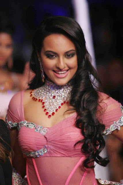Sonakshi Sinha in Hot and Sexy pink saree
