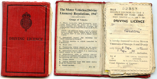 1950s driving licence