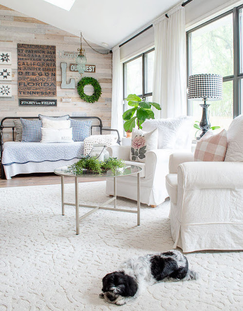 DIY Beautify sunroom with white furniture and vintage daybed
