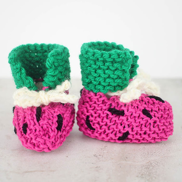 Free Easy Watermelon Baby Booties Pattern