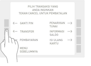 "Pilih menu ""Transfer"" pada ATM Anda."