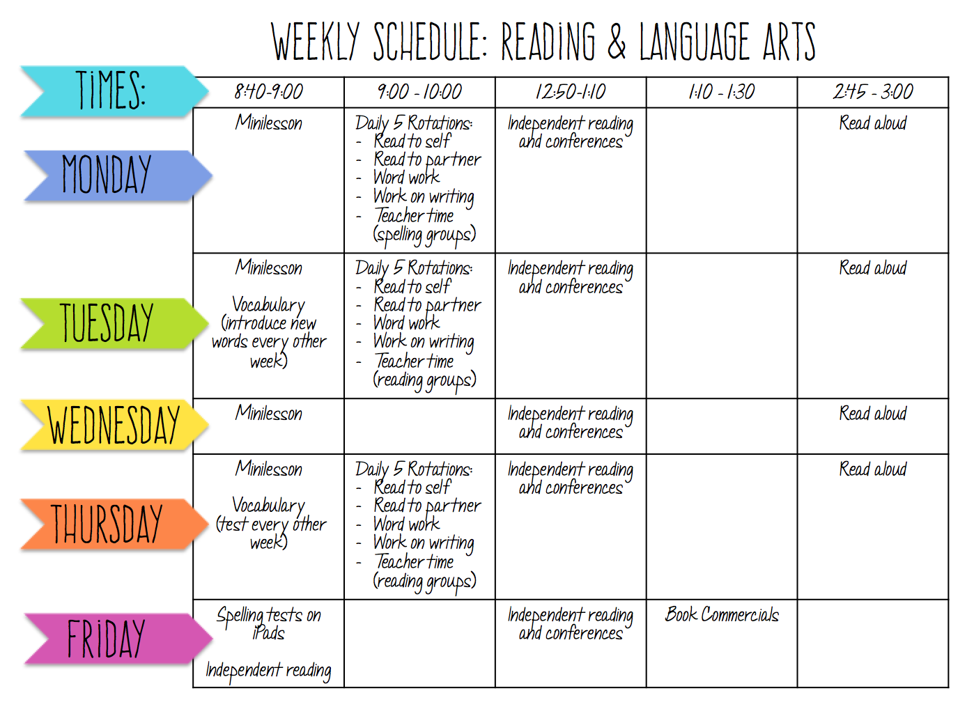 Lessons With Laughter My Reading Amp Language Arts Schedule
