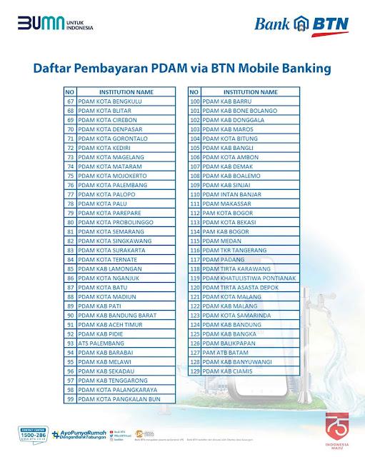 Bayar PDAM via BTN