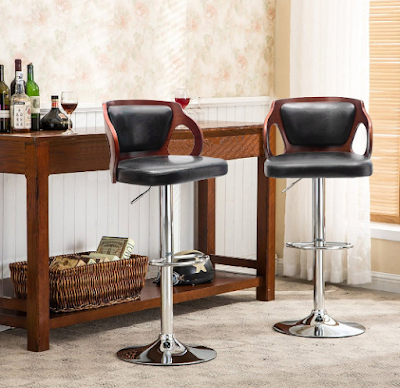 Homall Bar Stool Walnut Bentwood Modifiable Height Leather Modern Barstool with Back Vinyl Seat Extremely Comfy Bar Stools (Walnut 1 Piece)