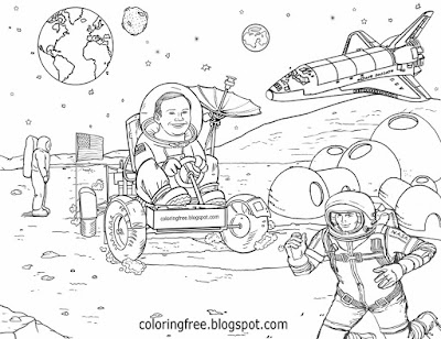 Detailed cartoon solar system red planet mars drawing space base NASA coloring pages for teenagers